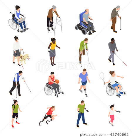 Disabled People Isometric Set  45740662