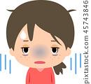 一個疲憊的表情的年輕女子 45743846