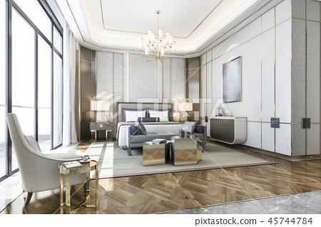 classic luxury bedroom suite in hotel with tv 45744784
