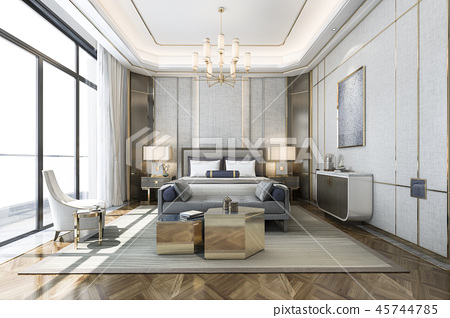 classic luxury bedroom suite in hotel with tv 45744785