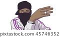 Illustration of young black gang member 45746352