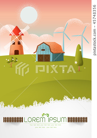 farm landscape Vector texture style  illustration 45748356