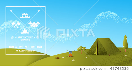 Hiking and camping vector texture style  45748536