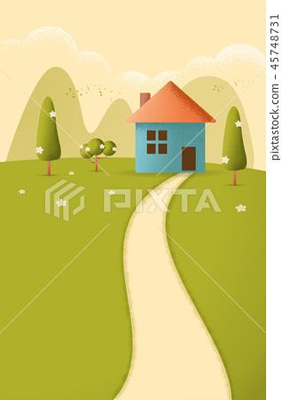 Village on the hills vector 45748731