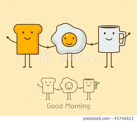 a coffee, eggs and toast Vector illustration. 45748821
