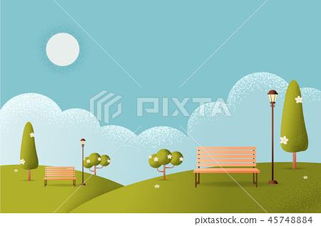 park Vector texture style concept illustration. 45748884