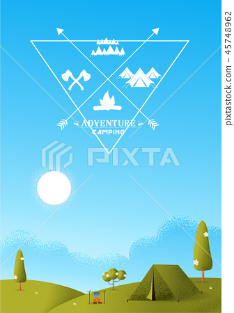 Hiking and camping vector texture style 45748962