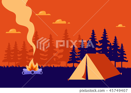 Hiking and camping vector  illustration. 45749407