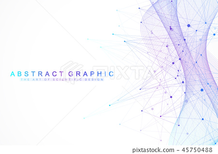 Technology abstract background with connected line and dots. Big data visualization. Artificial 45750488