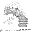 Cartoon of Man or Businessman Running Away From Falling Pile or Stack of Coins 45750767