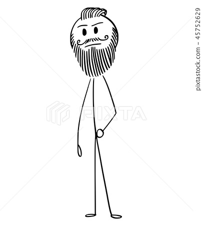 Cartoon of Hipster Man With Full Beard and mustache 45752629
