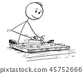 Cartoon of Joiner or Carpenter Working With Wood and Jack Plane 45752666