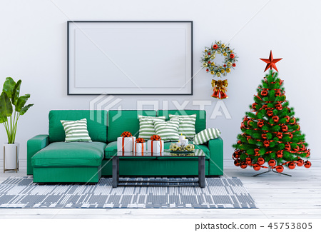 mock up poster frame Christmas interior room 45753805