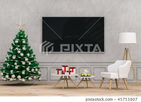 mock up smart tv. Christmas interior living room. 45753807