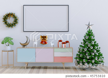 interior living room with Christmas. 3D render 45753810