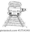 Drawing of Generic Train Engine Locomotive on the Tracks 45754340