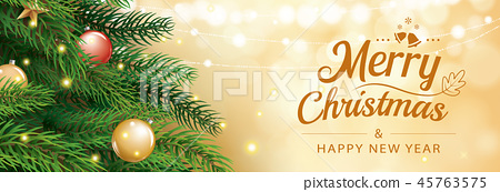 Christmas greeting card with tree and gold bokeh 45763575