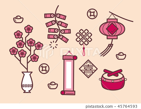 Simple illustration of Chinese New Year items 45764593