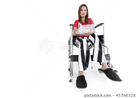 Broken arm woman on wheelchair isolate. 45766328