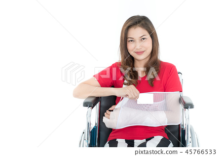 Injured woman with insurance service. 45766533