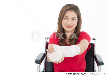 Broken arm woman on wheelchair isolate. 45766893