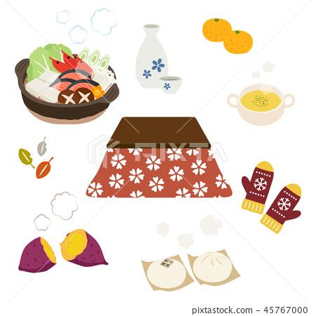 被爐和冬天溫暖的食物 45767000