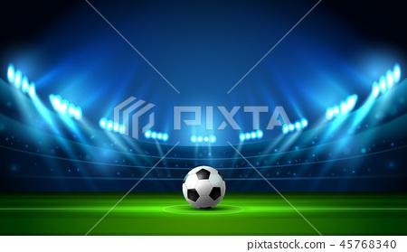 soccer football stadium spotlight and scoreboard 45768340