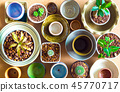 Ceramic bowls prepared to use for houseplant pot 45770717