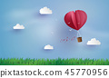 Origami made hot air balloon and cloud 45770956