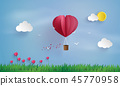 Origami made hot air balloon and cloud 45770958