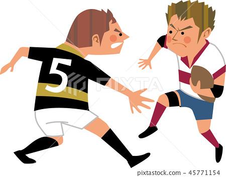 橄欖球攻擊和防守 45771154