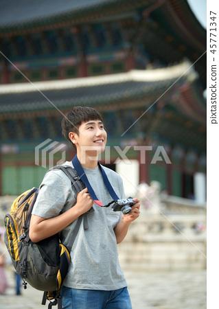 젊은남자, 남성, 경복궁, 서울, 고궁, 여행 45771347