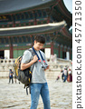 젊은남자, 남성, 경복궁, 서울, 고궁, 여행 45771350