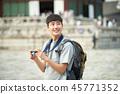 젊은남자, 남성, 경복궁, 서울, 고궁, 여행 45771352