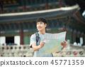 젊은남자, 남성, 경복궁, 서울, 고궁, 여행 45771359