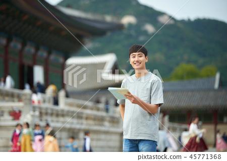 젊은남자, 남성, 경복궁, 서울, 고궁, 여행 45771368