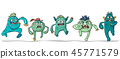 Five Running Crazy Monsters 45771579
