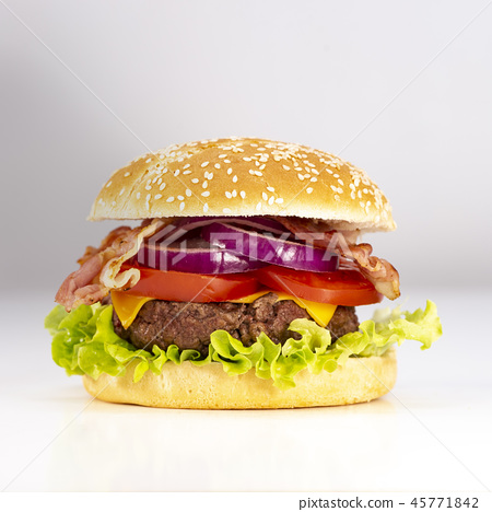 Burger with French fries cutlet with cheese and tomato 45771842