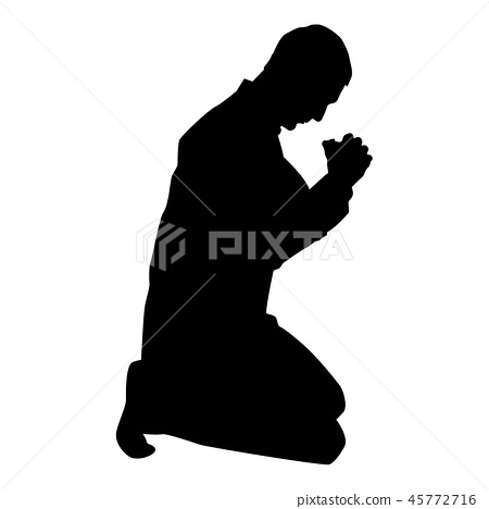 Man pray on his knees silhouette icon black color 45772716