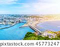 enoshima island and urban skyline aerial view 45773247