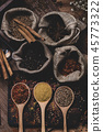 Various fragrant spices and herbs. 45773322