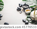 Spa accessories on grey background 45776533