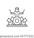 Drummer line icon concept. Drummer vector linear illustration, symbol, sign 45777202