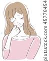 擔心的女人插圖 45779454