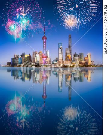 Beautiful fireworks above Shanghai skyline at night 45779562