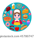 seller and fast food 45780747