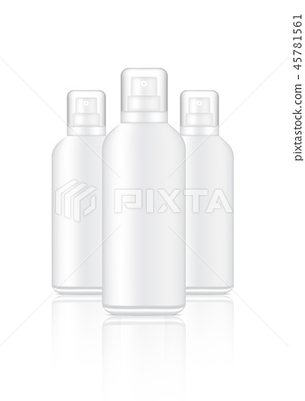 Mock up Realistic White Spray Cosmetic Bottles 45781561