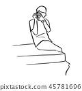 man taking a photograph vector illustration  45781696