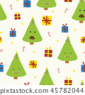 Cute Christmas trees with faces on beige vector 45782044