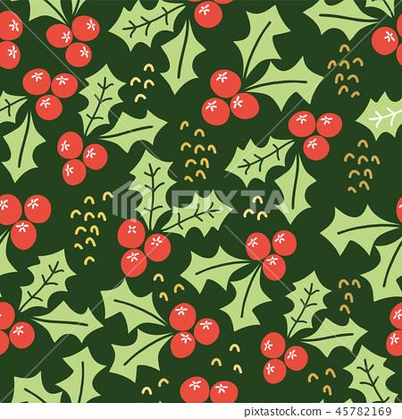 Misteltoes seamless vector pattern on green 45782169